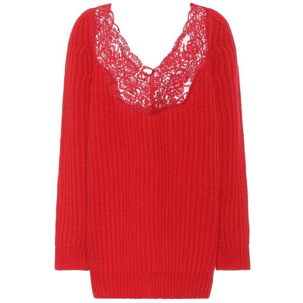 バレンシアガ レディース トップス ニット・セーター【Lace-trimmed wool sweater】Red
