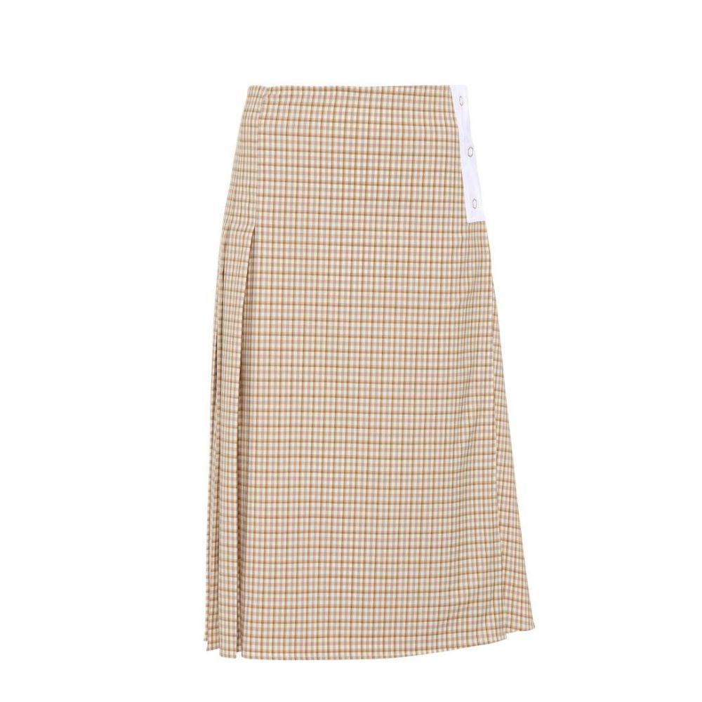 ヴィクトリア ベッカム レディース スカート【Checked stretch wool skirt】Taupe-Off White