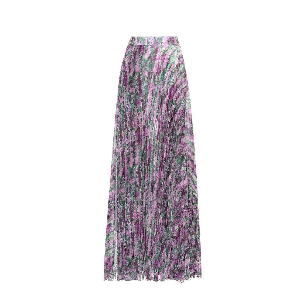 マックスマーラ レディース スカート【Floral-printed pleated skirt】Lilac Flower