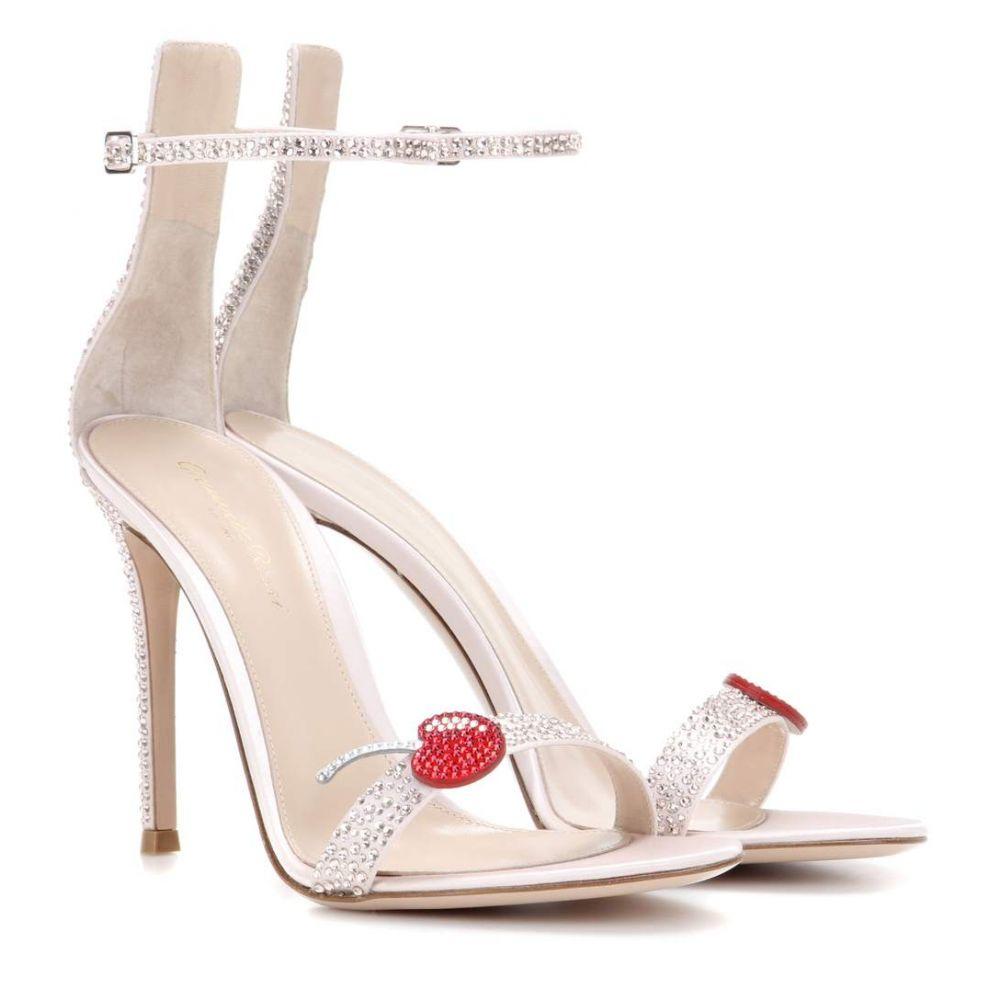 ジャンヴィト ロッシ レディース シューズ・靴 サンダル・ミュール【Cherry Portofino embellished satin sandals】Rosa