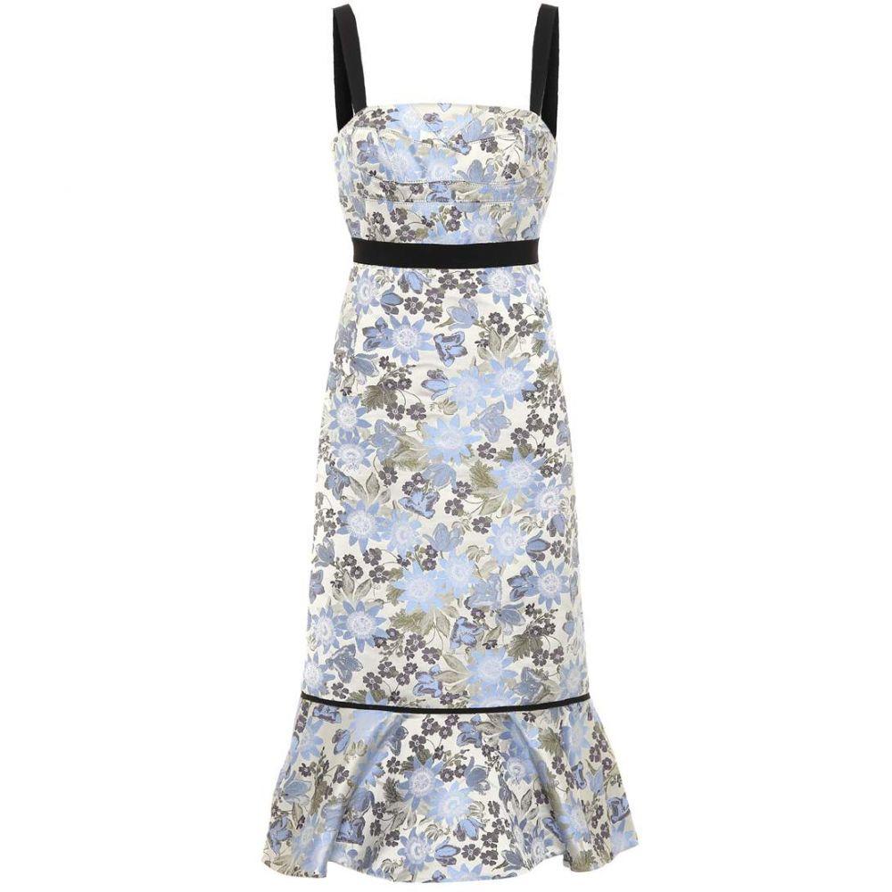 アーデム レディース ワンピース・ドレス ワンピース【Eunice sleeveless jacquard dress】White/Blue