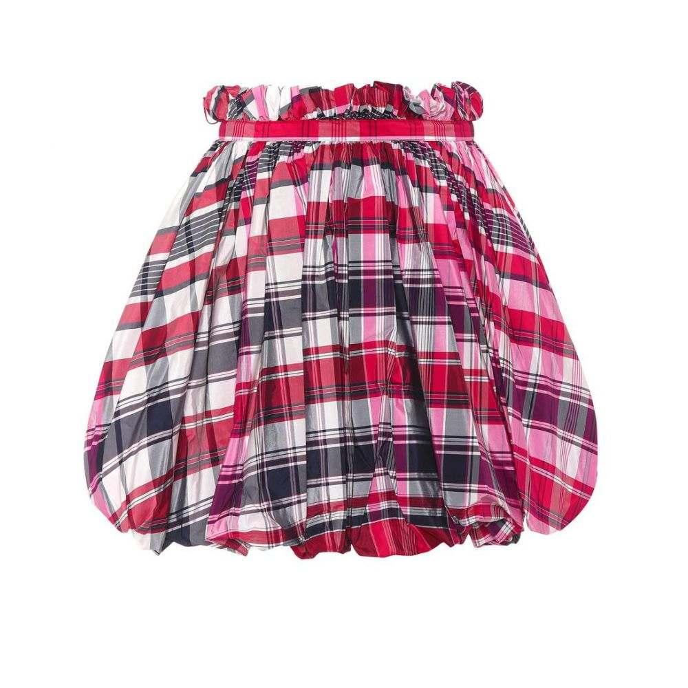 アレキサンダー マックイーン レディース スカート ミニスカート【Checked silk and cotton miniskirt】Red/Black/Ivory