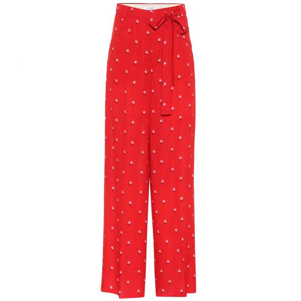 ヴァレンティノ レディース ボトムス・パンツ【Floral-printed silk crepe trousers】Red