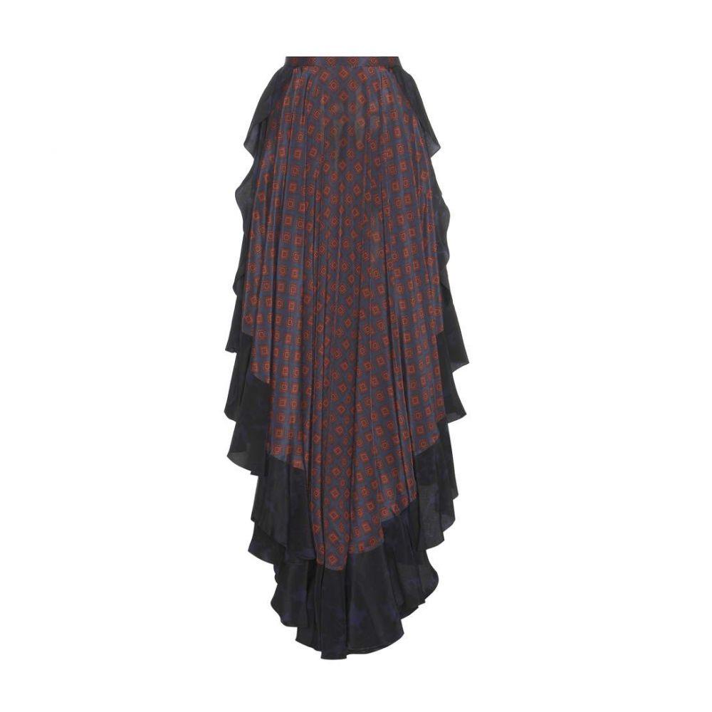 ランバン レディース スカート【Printed silk skirt】Navy Blue