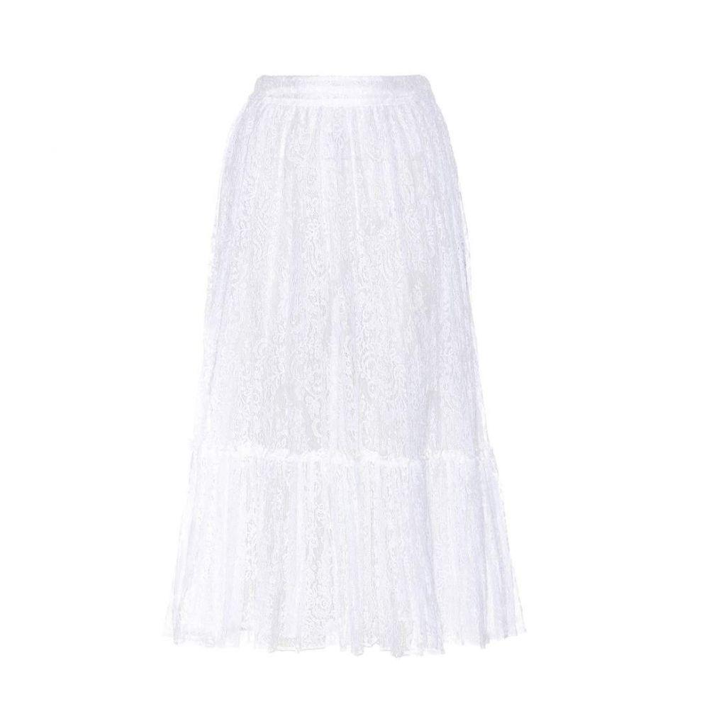 ヴァレンティノ レディース スカート【Lace cotton-blend skirt】Bianco