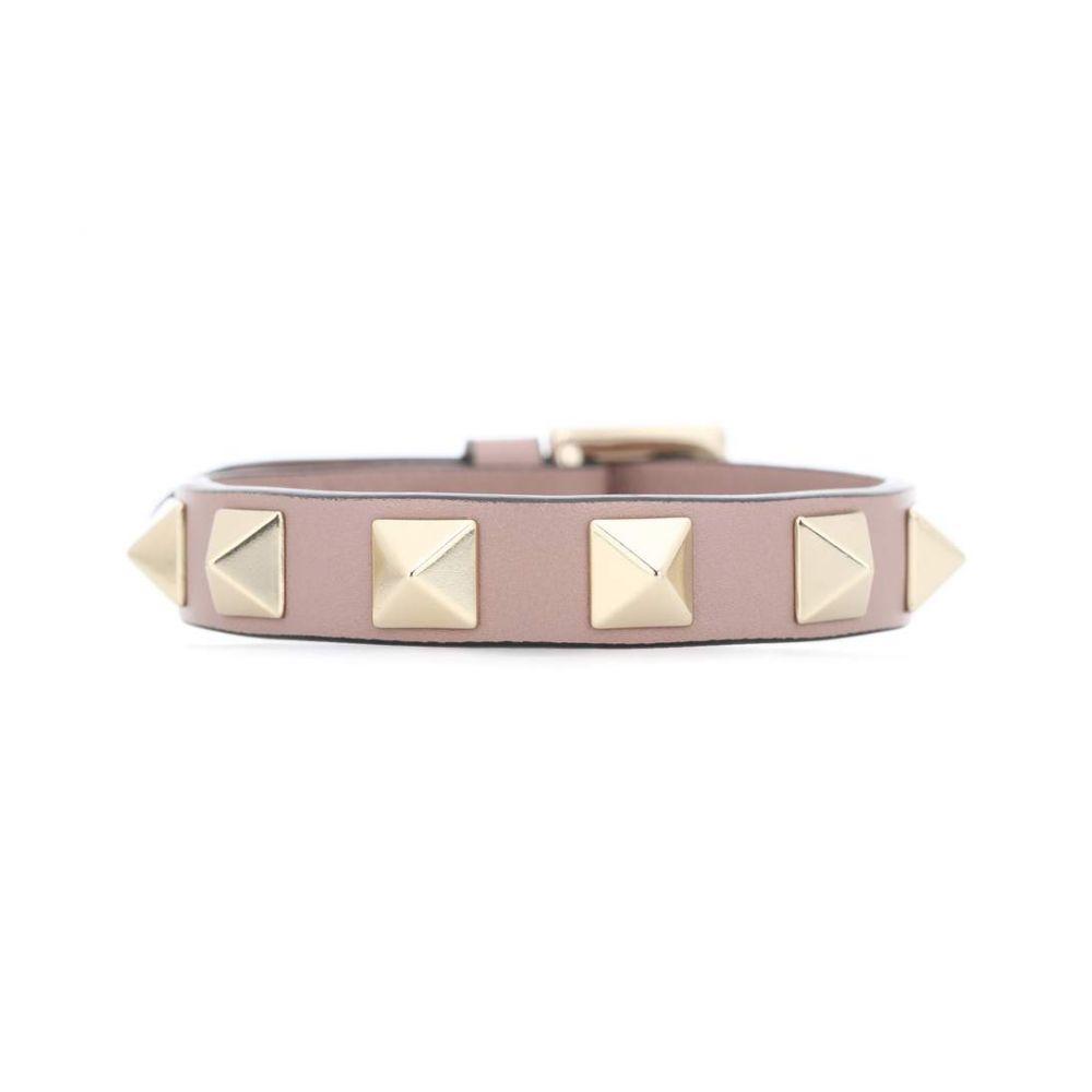 ヴァレンティノ レディース ジュエリー・アクセサリー ブレスレット【Valentino Garavani Rockstud leather bracelet】Poudre