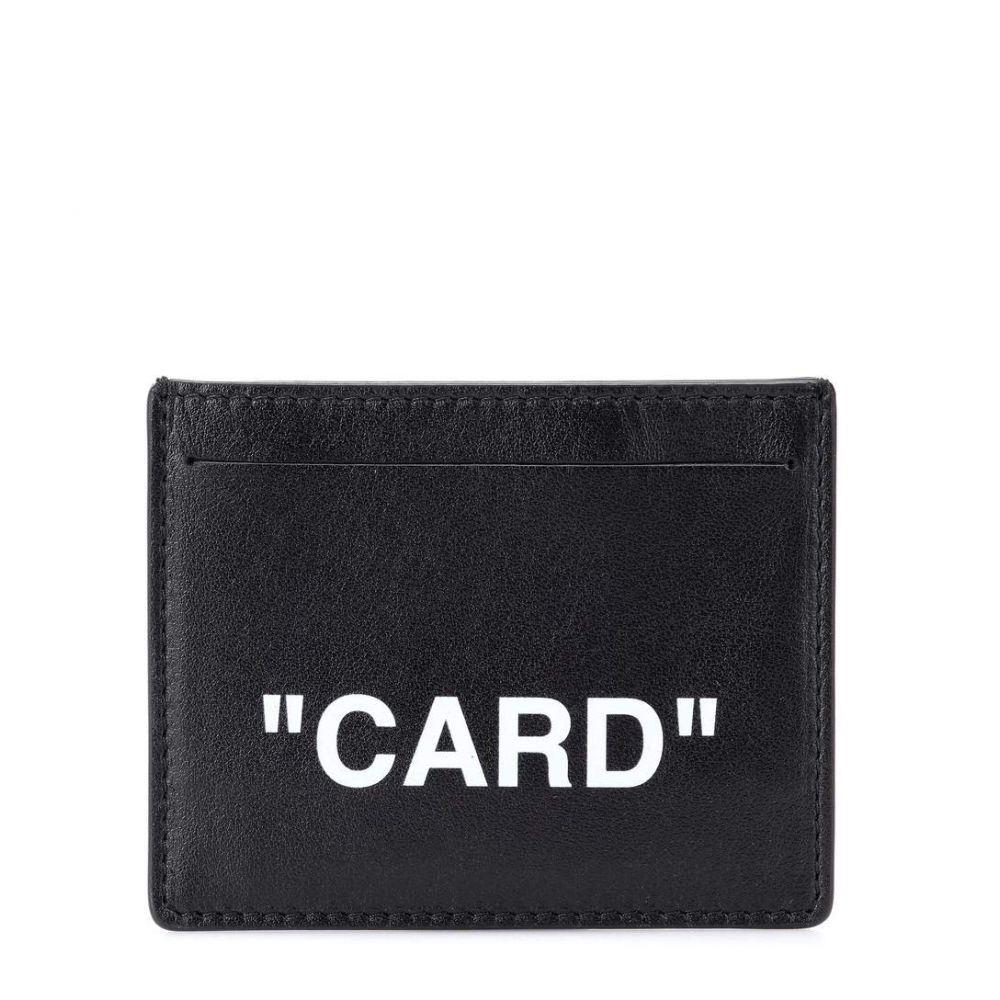 オフ-ホワイト レディース カードケース・名刺入れ【QUOTE leather card holder】Black White