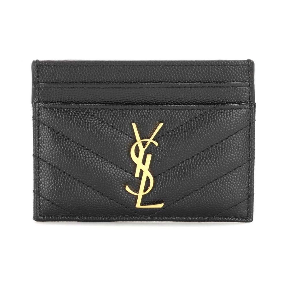イヴ サンローラン レディース カードケース・名刺入れ【Monogram quilted leather card holder】Nero