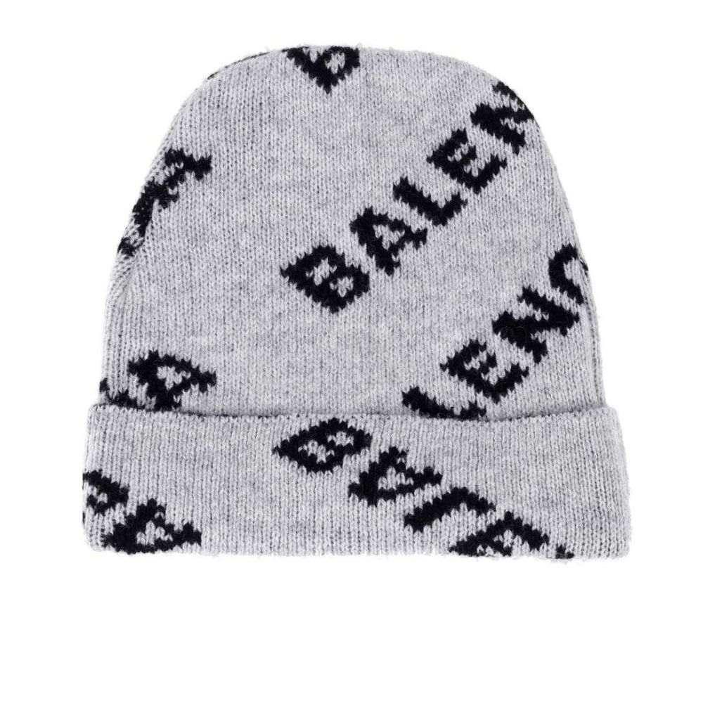 バレンシアガ レディース 帽子 ニット【Intarsia wool-blend beanie】Grey/Black