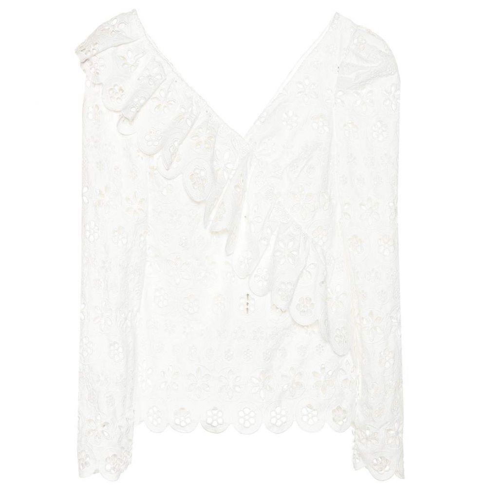 セルフ ポートレイト レディース トップス【Broderie anglaise lace top】White