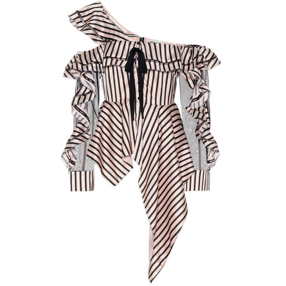 セルフ ポートレイト レディース トップス オフショルダー【Striped off-the-shoulder top】Nude/Black