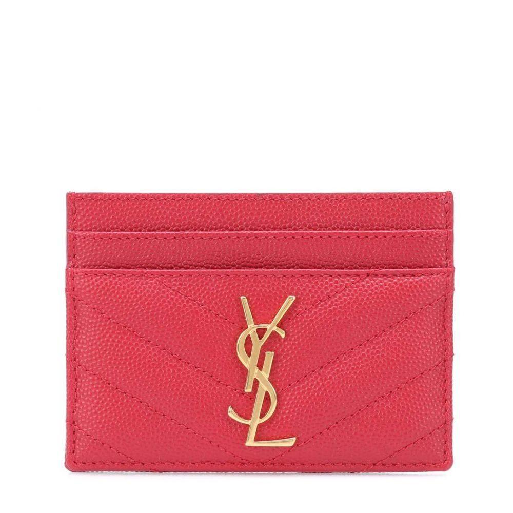イヴ サンローラン レディース カードケース・名刺入れ【Monogram quilted leather card holder】Rouge Eros