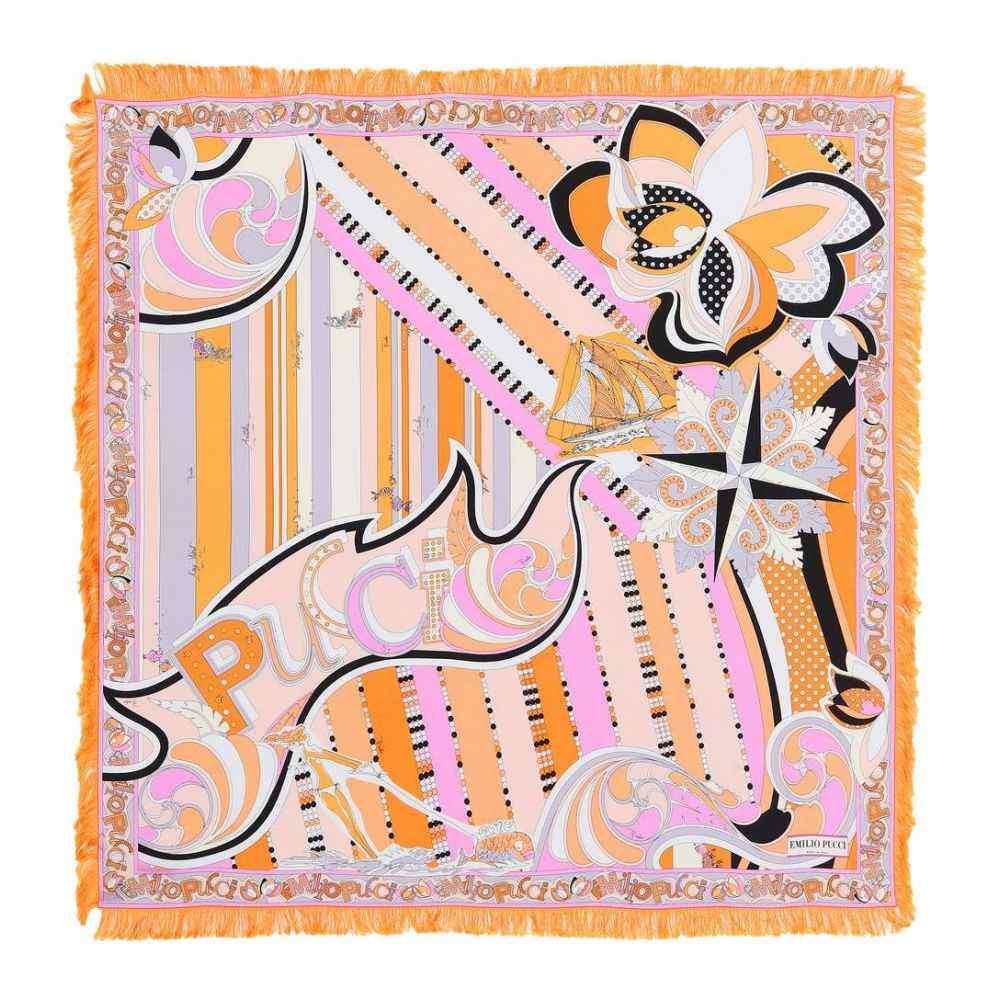 エミリオ プッチ レディース マフラー・スカーフ・ストール【Printed silk scarf】Peonia/Arancio