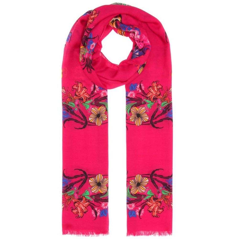 エトロ レディース マフラー・スカーフ・ストール【Floral wool and silk scarf】Pink