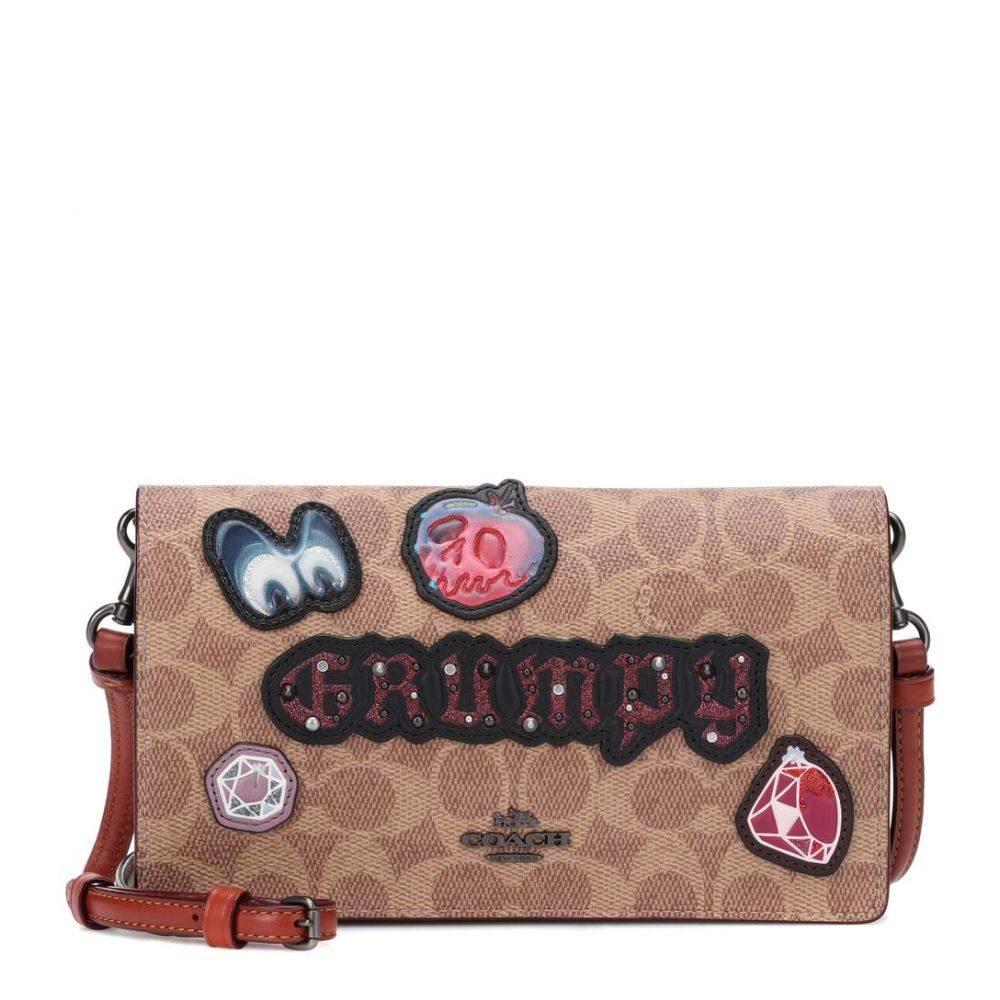 コーチ レディース バッグ ショルダーバッグ【X Disney Grumpy logo leather shoulder bag】Black/Brown
