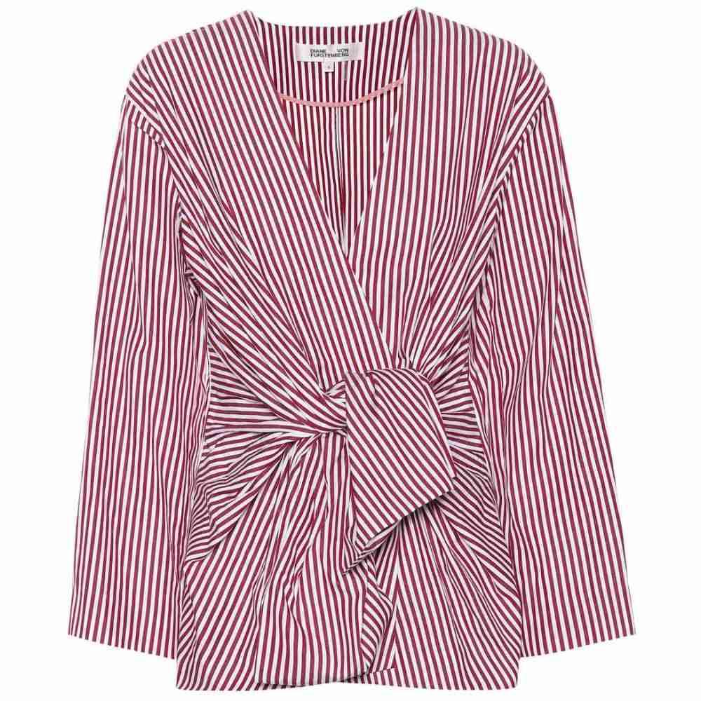 ダイアン フォン ファステンバーグ レディース トップス ブラウス・シャツ【Striped cotton shirt】Oxblood/White
