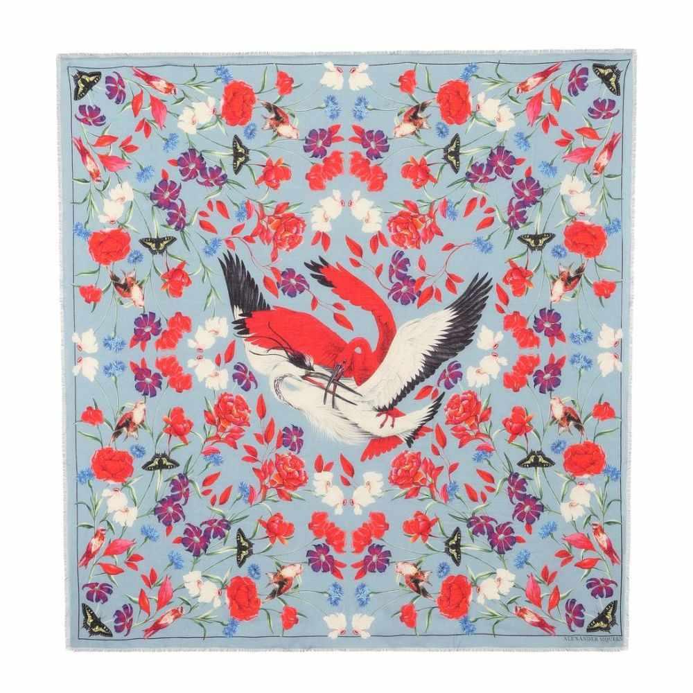 アレキサンダー マックイーン レディース マフラー・スカーフ・ストール【Printed wool-blend scarf】Bluette Red