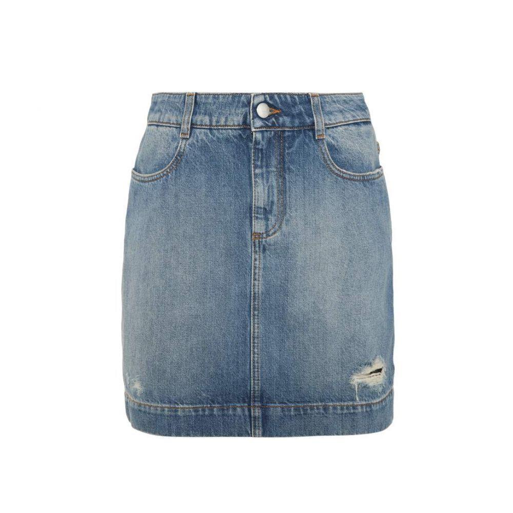 ステラ マッカートニー レディース スカート ミニスカート【Distressed denim miniskirt】Blue Medium