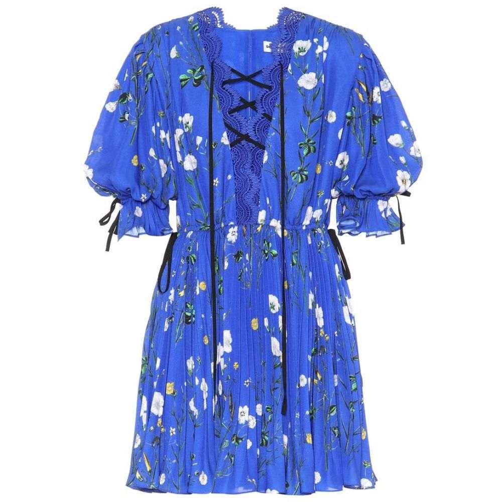 セルフ ポートレイト レディース ワンピース・ドレス ワンピース【Floral-printed crepe minidress】Cobalt