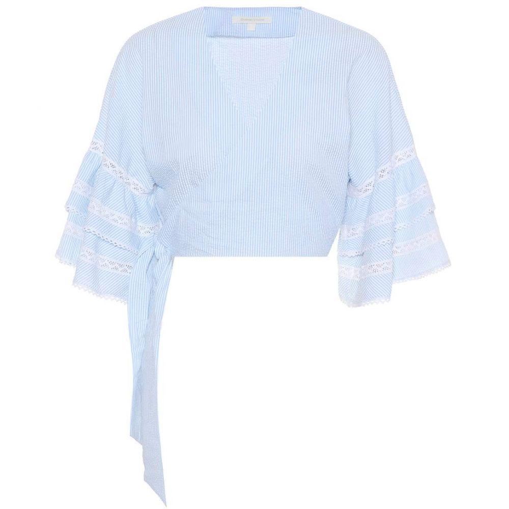 ジョナサン シンカイ レディース トップス ブラウス・シャツ【Striped seersucker blouse】Sky Combo