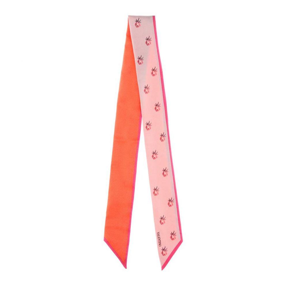 ヴァレンティノ レディース マフラー・スカーフ・ストール【Floral-printed silk-blend scarf】Red