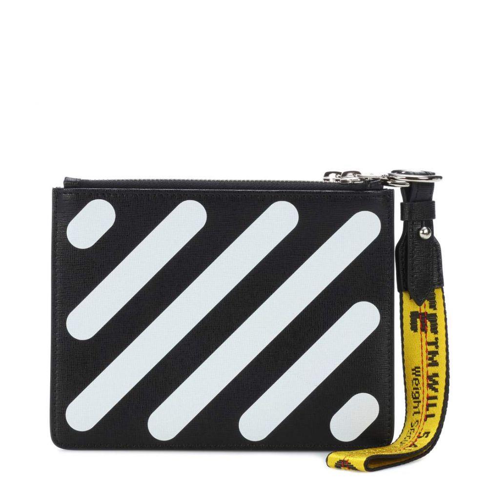 オフ-ホワイト レディース Flap バッグ クラッチバッグ【Diagonal Double Double Flap leather バッグ pouch】Black/White, 国頭郡:8b44a076 --- sunward.msk.ru