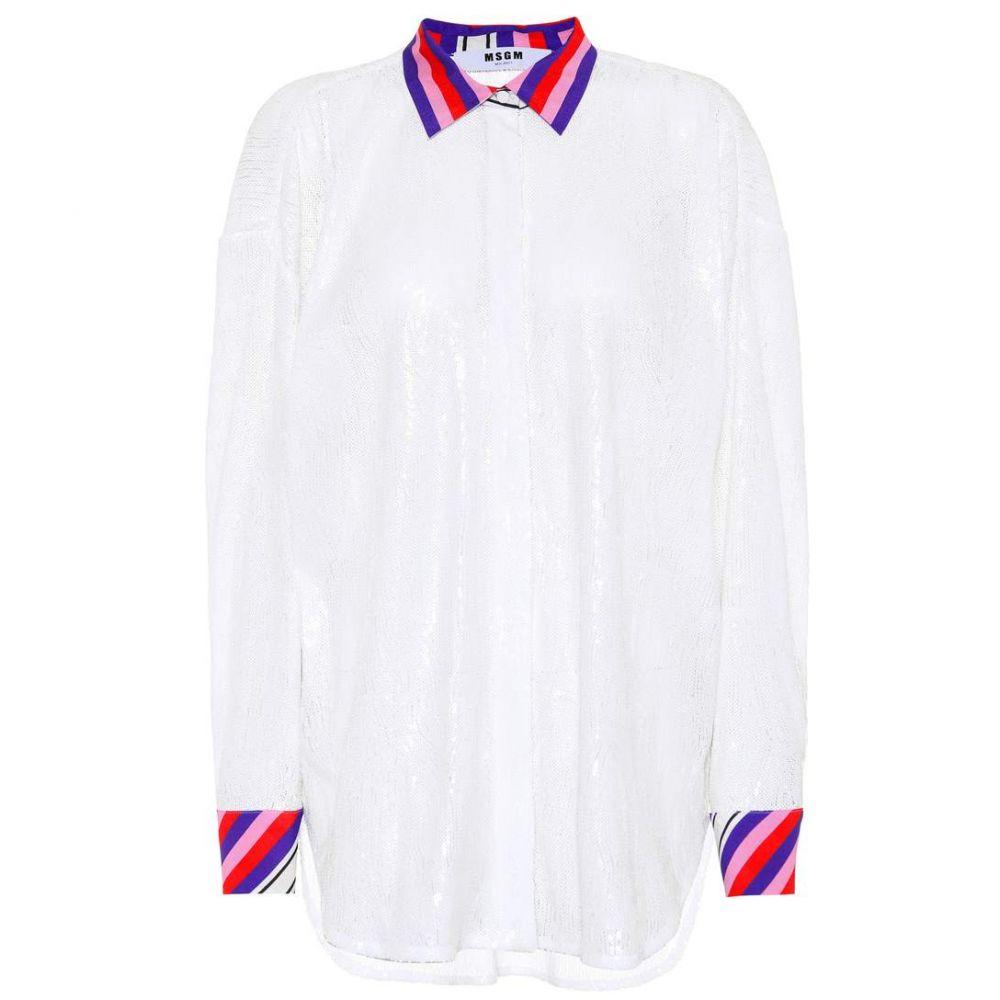 エムエスジーエム レディース トップス ブラウス・シャツ【Sequinned oversized shirt】Silver