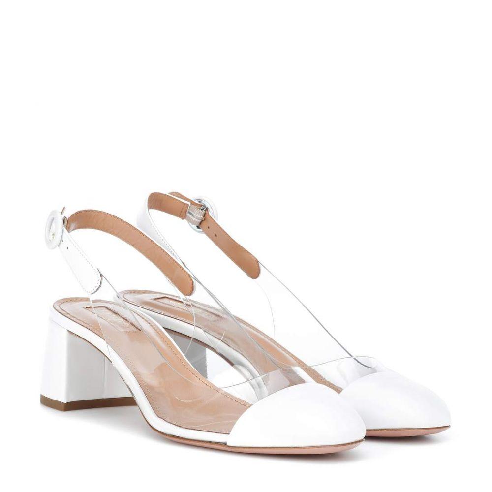 アクアズーラ レディース シューズ・靴 パンプス【Optic 50 leather-trimmed pumps】White