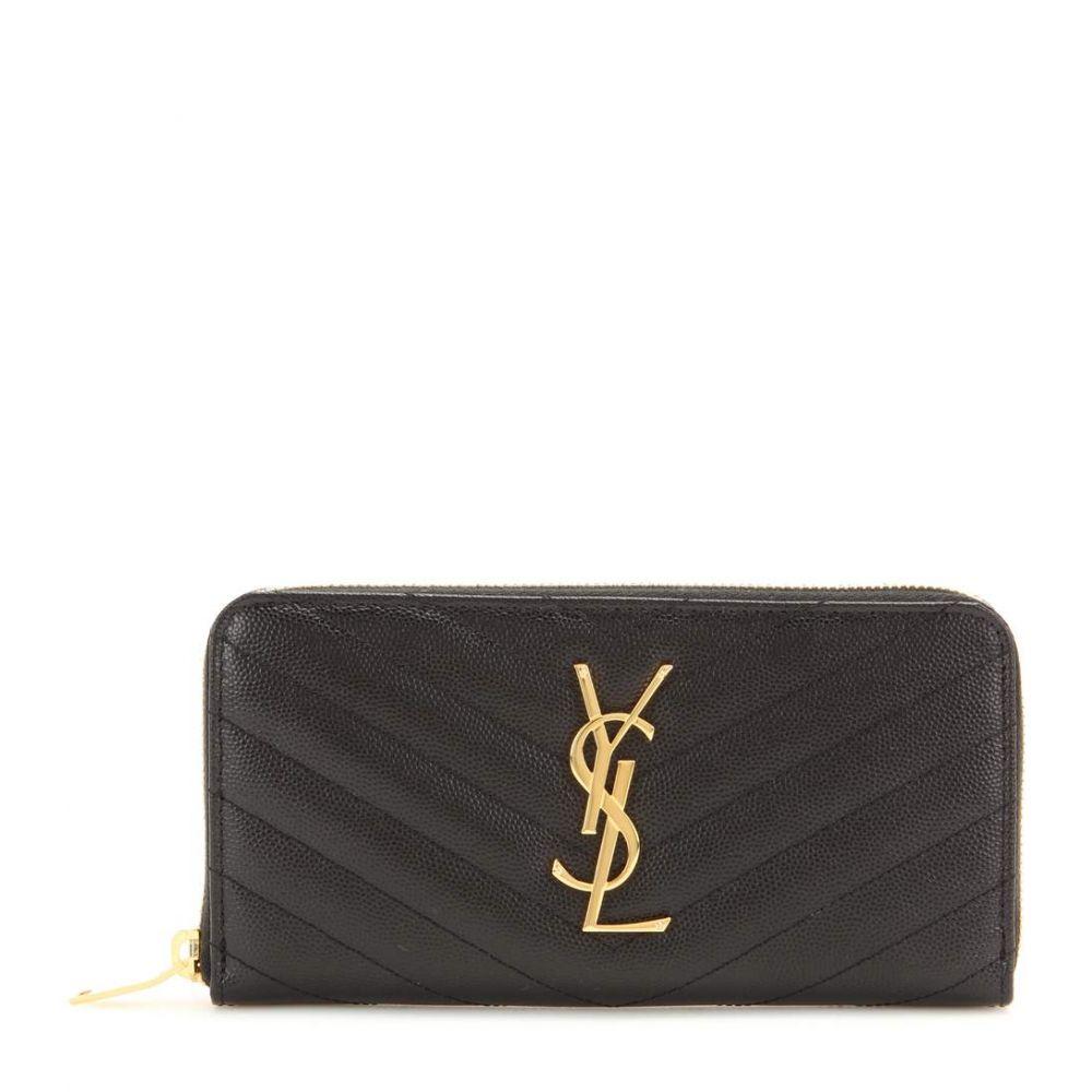 イヴ サンローラン レディース 財布【Monogram leather wallet】Black