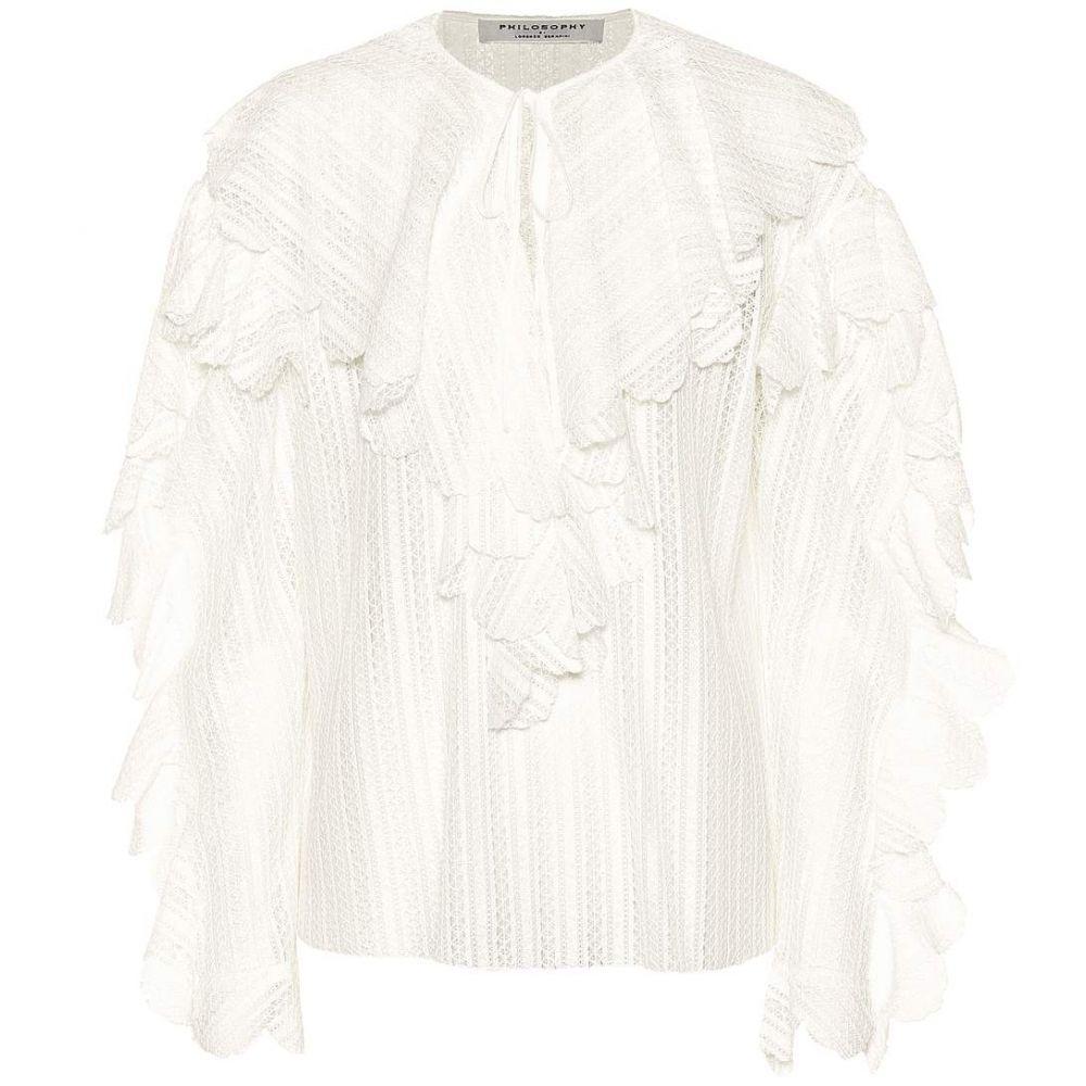 フィロソフィ ディ ロレンツォ セラフィニ レディース トップス ブラウス・シャツ【Ruffle-trimmed cotton-blend blouse】White