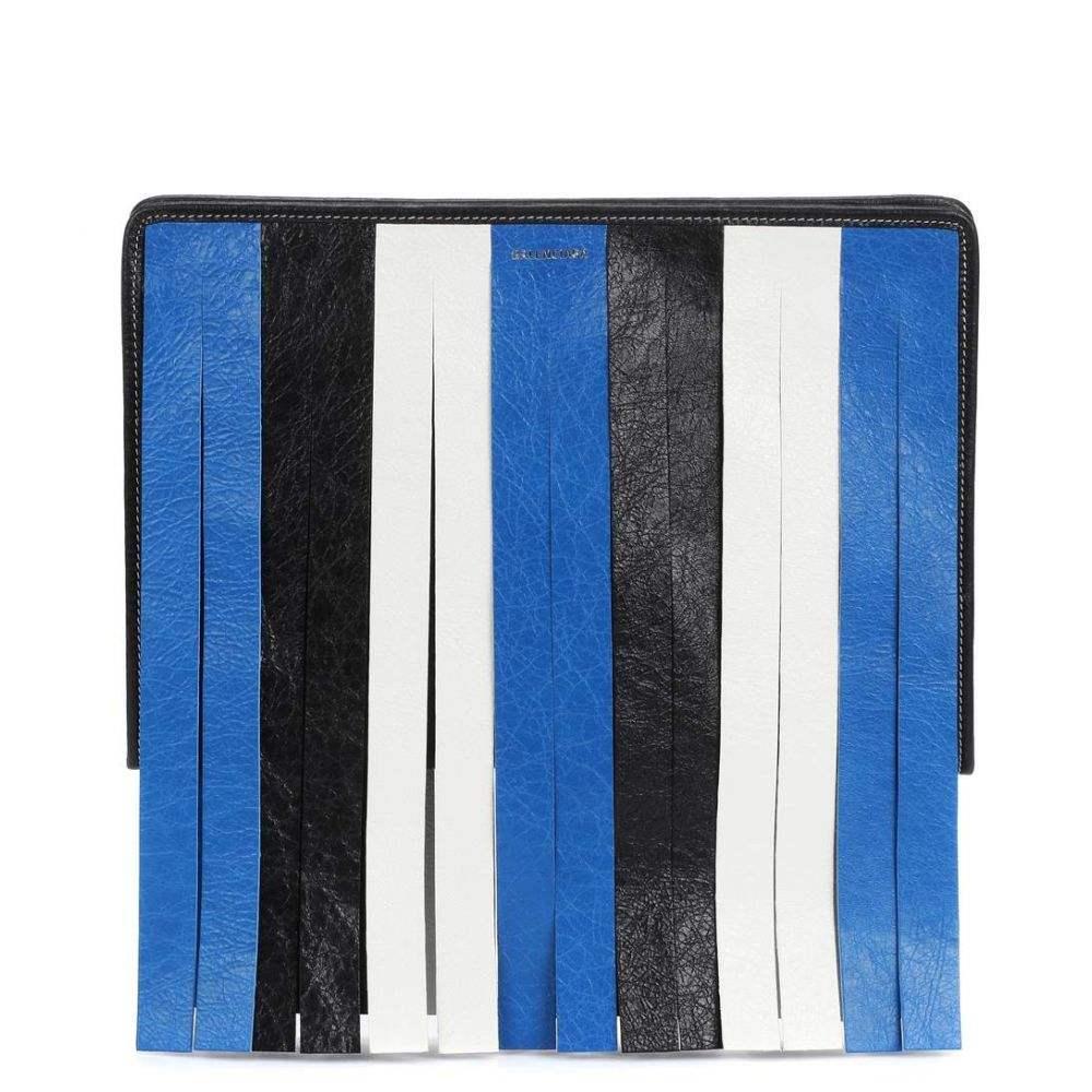 バレンシアガ レディース バッグ クラッチバッグ【Bazar fringed leather clutch】Bleu/Blanc/Noir