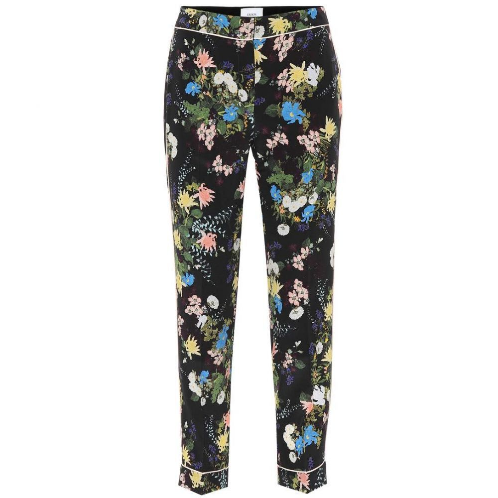 アーデム レディース ボトムス・パンツ クロップド【Ginnie floral-printed silk pants】Black-Multicolor