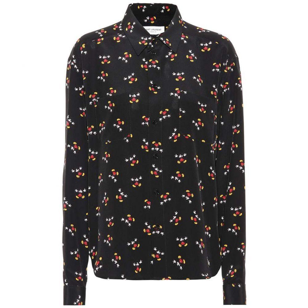 イヴ サンローラン レディース トップス ブラウス・シャツ【Mickey Mouse silk shirt】Black/Multi