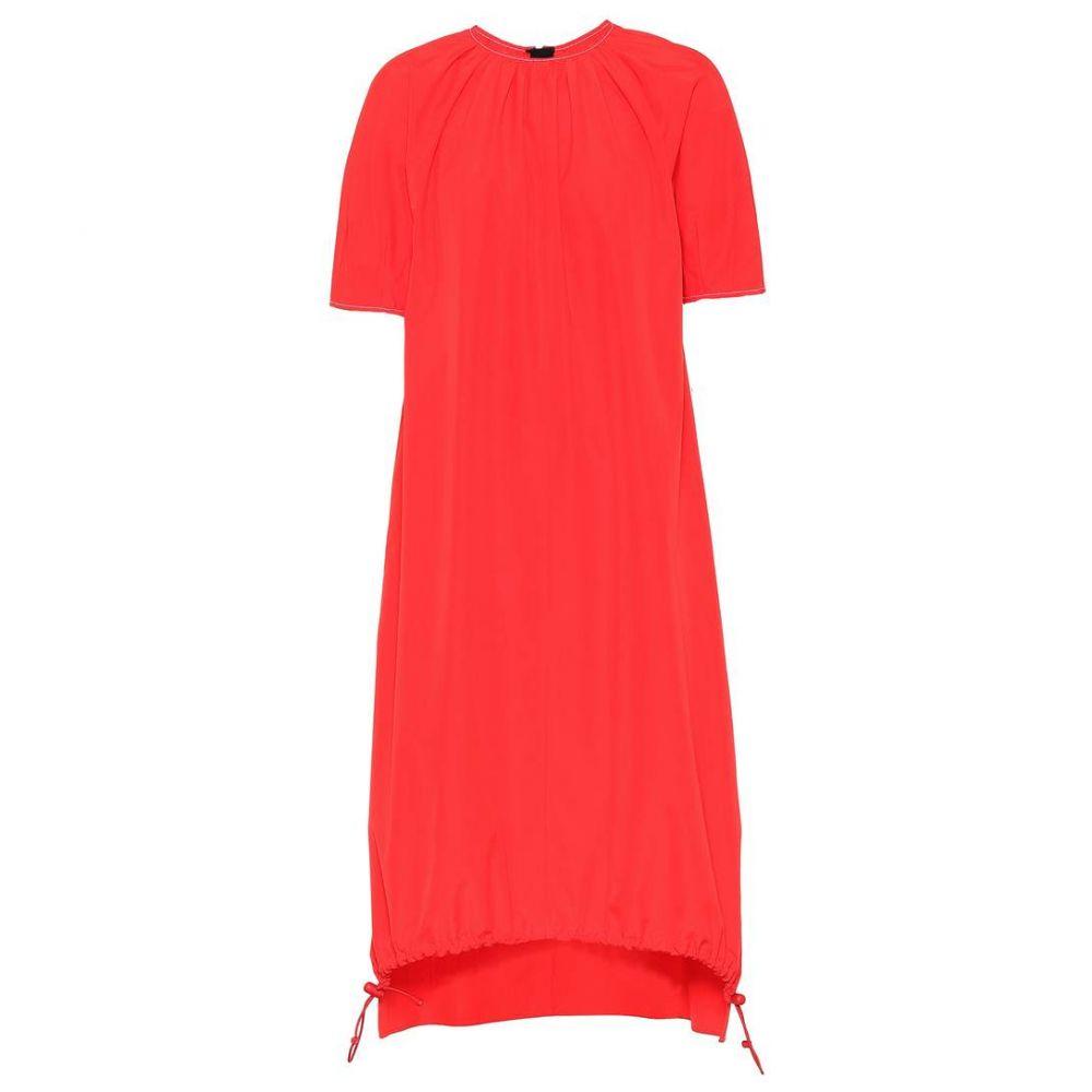 マルニ レディース ワンピース・ドレス ワンピース【Cotton drawstring-hem dress】Red