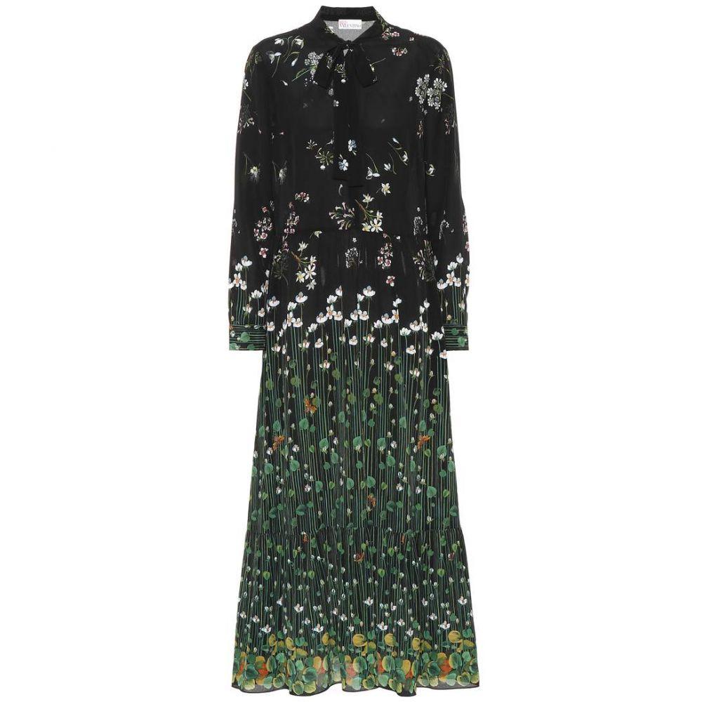 レッド ヴァレンティノ レディース ワンピース・ドレス ワンピース【Floral-printed silk dress】Nero