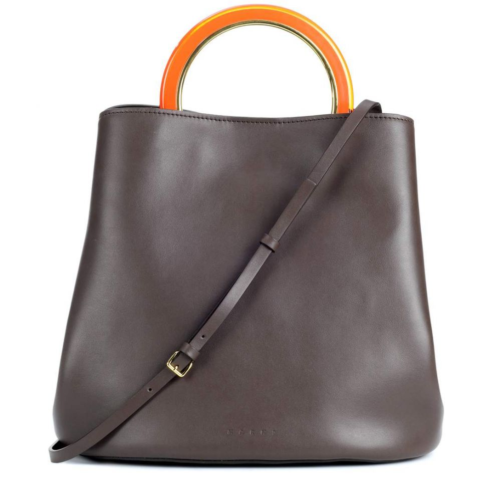 マルニ レディース バッグ ハンドバッグ【Pannier leather handbag】Dark Eggplant
