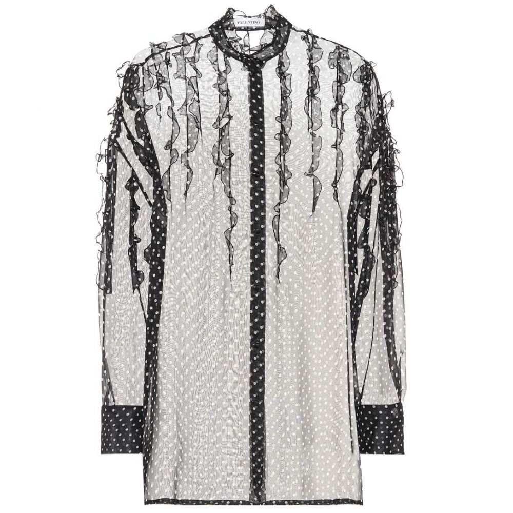 ヴァレンティノ レディース トップス ブラウス・シャツ【Polka-dot silk shirt】Black/Ivory