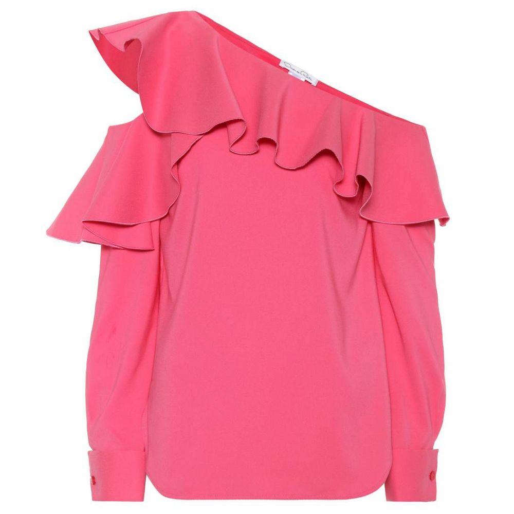 オスカー デ ラ レンタ レディース トップス ブラウス・シャツ【One-shoulder silk-blend blouse】Pink