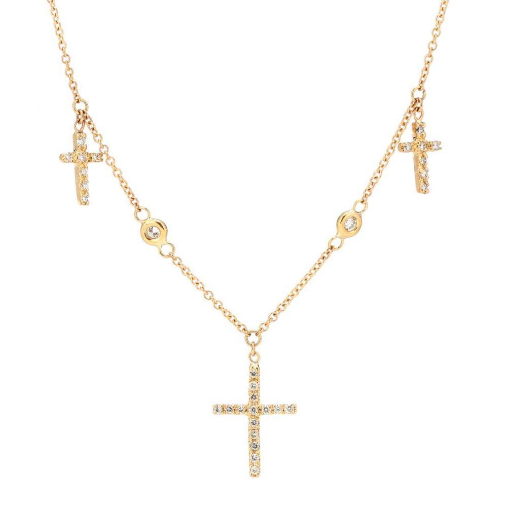 ジャッキーアイチェ レディース ジュエリー・アクセサリー ネックレス【14kt gold triple cross necklace with white diamonds】