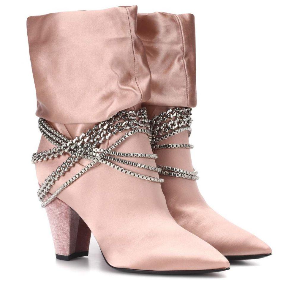 セルフ ポートレイト レディース シューズ・靴 ブーツ【Sadie satin ankle boots】Light Pink