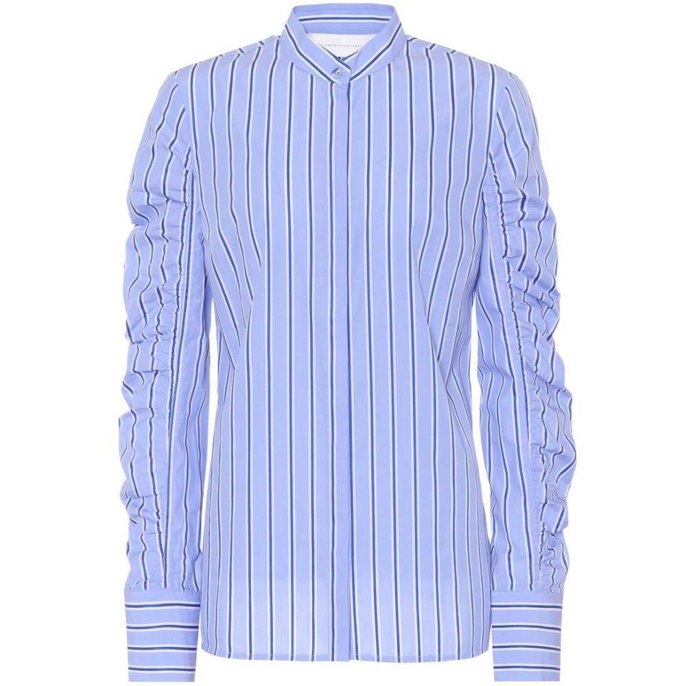ヴィクトリア ベッカム レディース トップス ブラウス・シャツ【Striped cotton poplin shirt】White Blue
