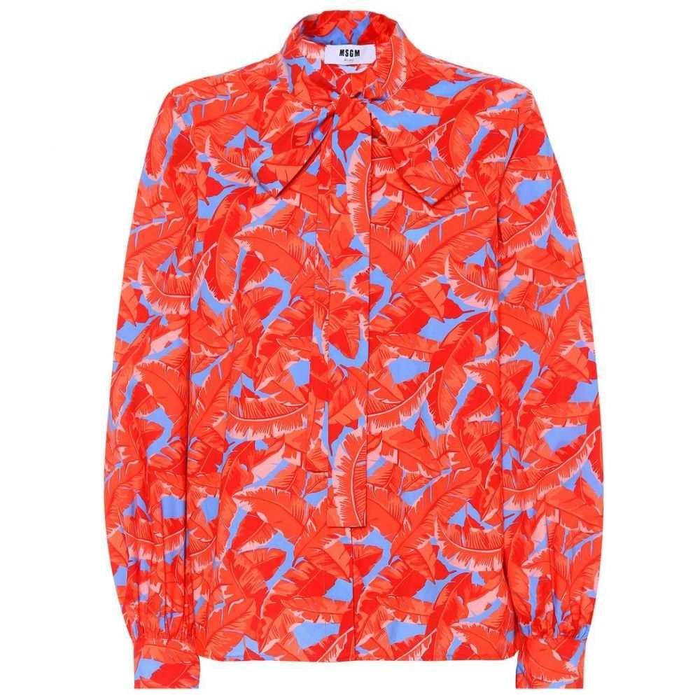 エムエスジーエム レディース トップス ブラウス・シャツ【Leaf-printed cotton blouse】Bright Red