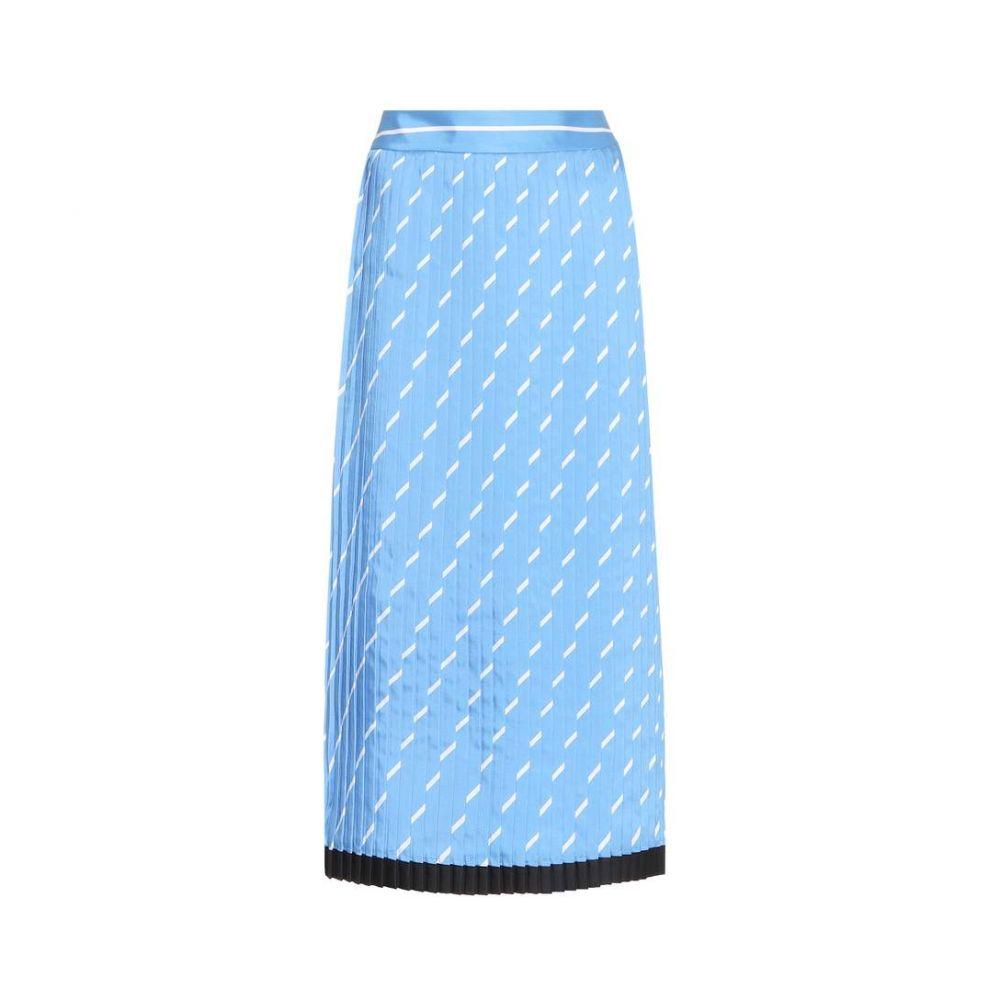 ヴィクトリア ベッカム レディース スカート ひざ丈スカート【Pleated twill midi skirt】Lagoon Blue