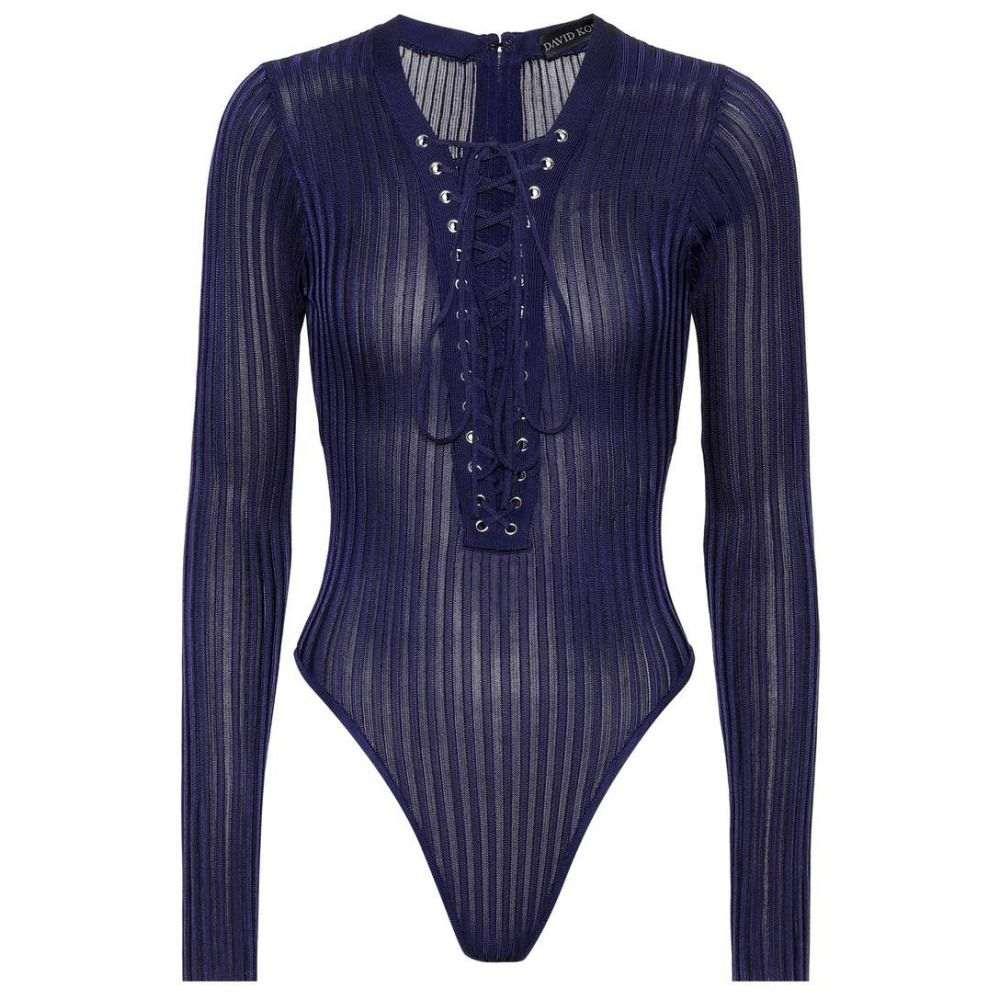 デヴィッド コーマ レディース インナー・下着 ボディースーツ【Lace-up knit bodysuit】Blue