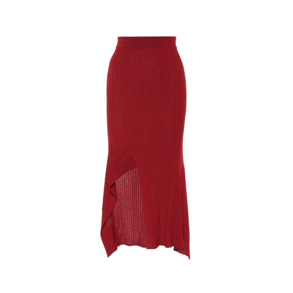 ステラ マッカートニー Stella McCartney レディース スカート ひざ丈スカート【Ribbed wool and silk skirt】Opera Red