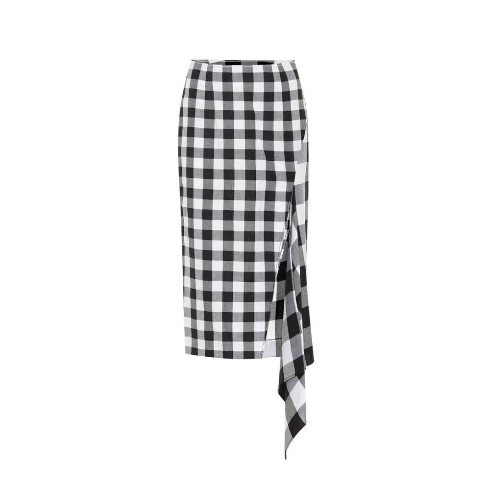 モンス Monse レディース スカート ひざ丈スカート【Checked wool and cotton skirt】Black/White