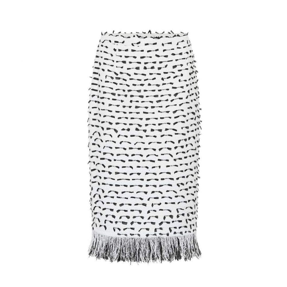 オスカー デ ラ レンタ Oscar de la Renta レディース スカート ひざ丈スカート【Fringed cotton-blend boucle skirt】White/Black