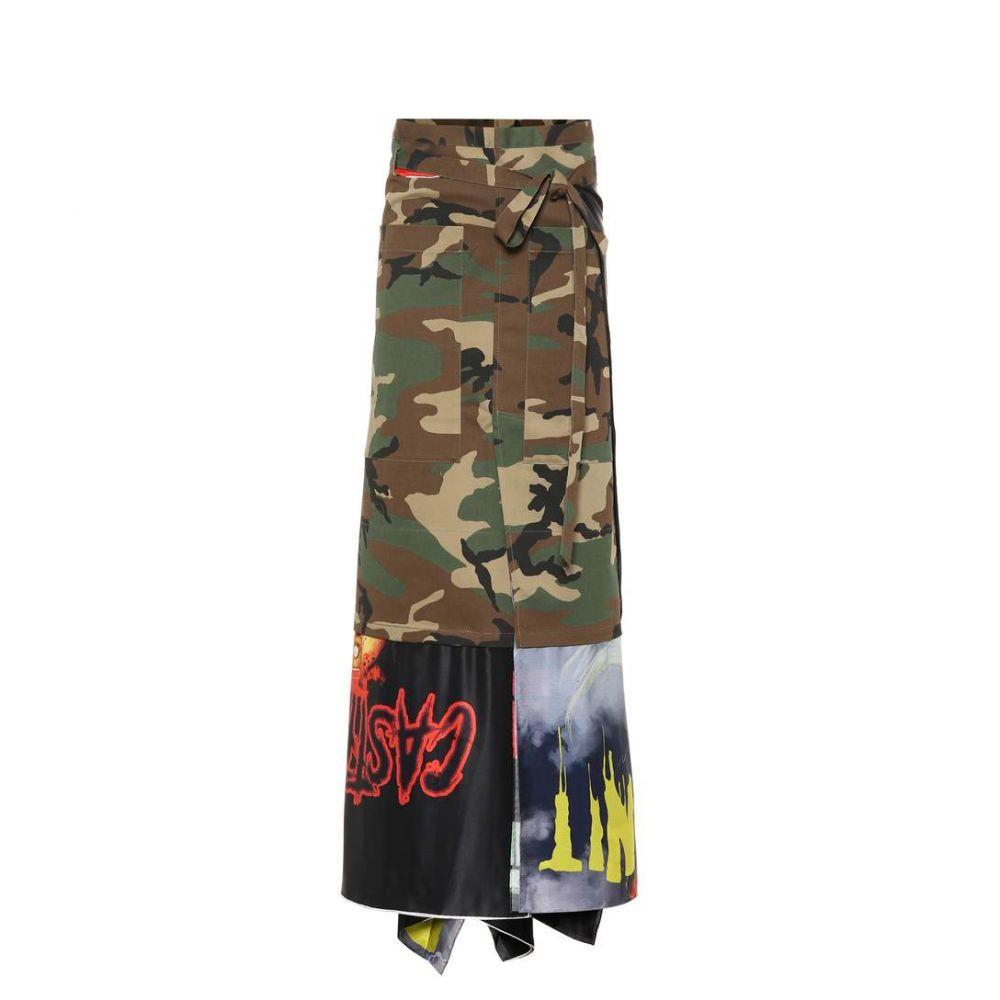 ヴェトモン Vetements レディース スカート ロング・マキシ丈スカート【Printed cotton skirt】dark green camo/multi