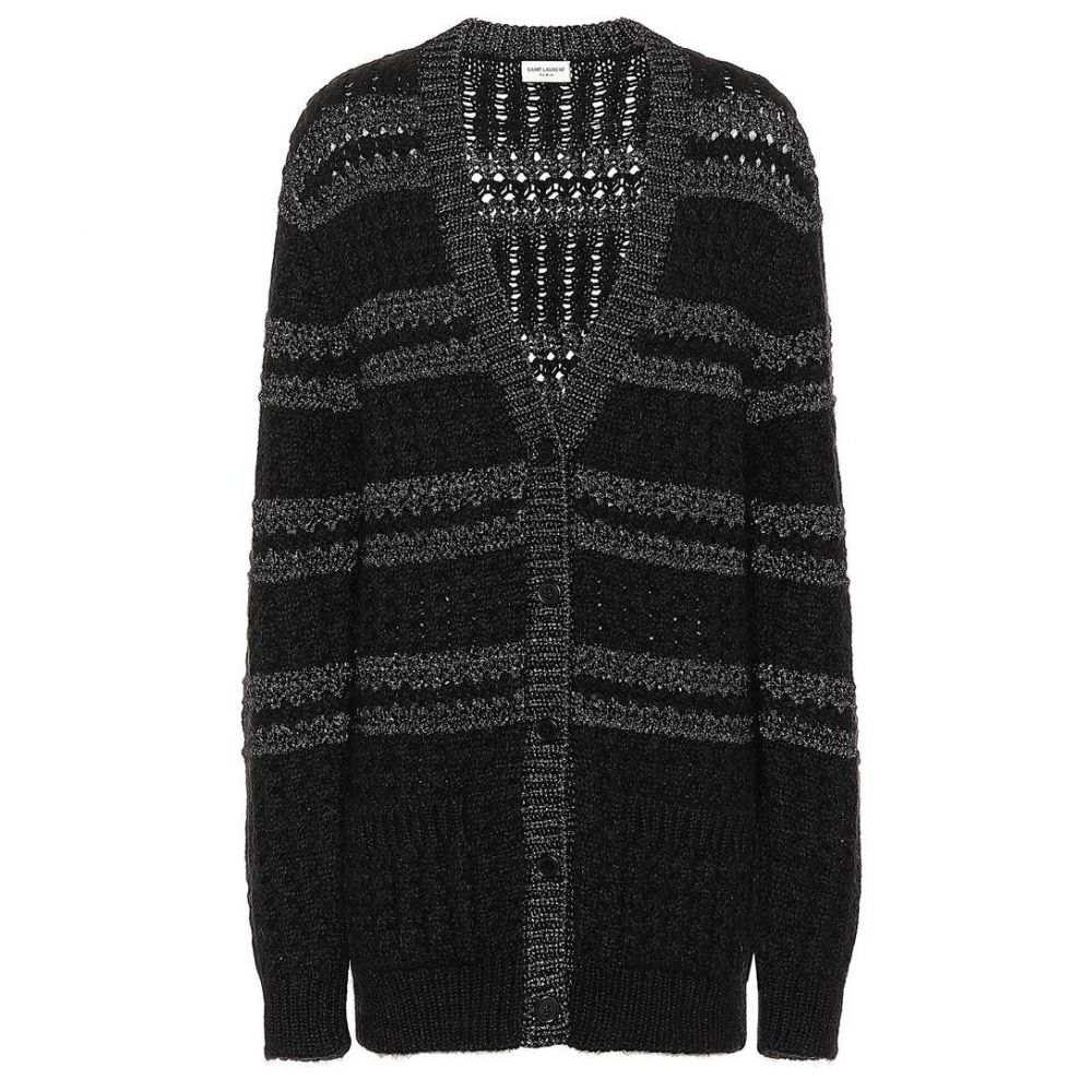 イヴ サンローラン Saint Laurent レディース トップス カーディガン【Metallic-knit striped cardigan】Black Silver