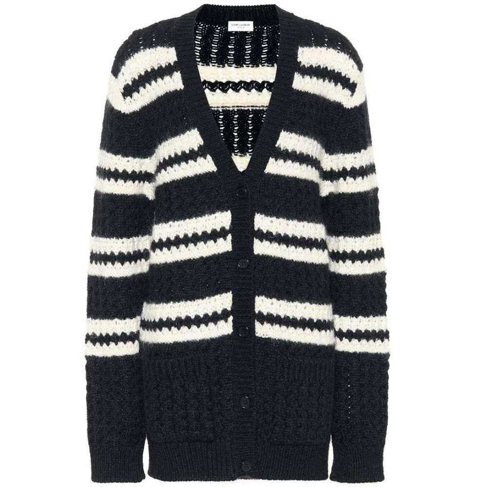 イヴ サンローラン Saint Laurent レディース トップス カーディガン【Wool, mohair and alpaca cardigan】Noir/Naturel